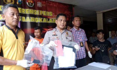 Kapolres Bangkalan AKBP Rama Samtama Putra saat merilis hasil ungkap kasus penculikan anak